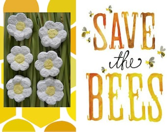 50 Seed Bombs - Save The Bees Wild Flower Mix - Plantable Wedding favor, Seed ball, Baby shower gift, Seed paper favor