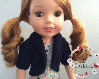 """14"""" Doll Knitting Pattern fits American Girl Wellie Wisher Dolls, Doll Clothes Pattern Shawl Collar Sweater"""