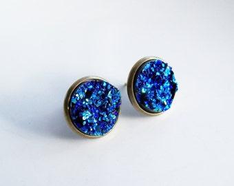 Blue Faux Druzy Studs - Druzy Stud Earring - Faux Plug Jewelry - Fake Plug Earring - Metallic Blue Resin Cabochon Moon Rocks Gift For Women