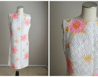 vintage 50s 60s sequined pink white floral shift sheath wiggle dress -- womens medium- 38-36-40 -- deadstock