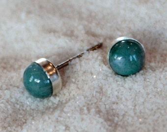 Moss Agate Gemstone 6mm Bezel Set on Niobium or Titanium Posts (Hypoallergenic Stud Earrings for Sensitive Ears)