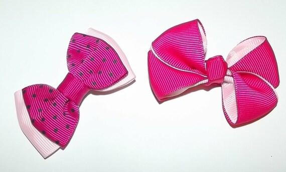 Puppy Bows ~Girls assorted sets of dog bow pink yellow polka dots Maltese ~USA seller