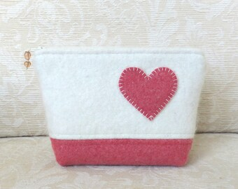 Heart Felt Zippered Pouch, Upcycled Felted Wool Sweater Clutch in Coral Pink and White