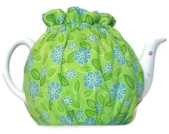 Teapot Cozy, quilted tea warmer with Blue flowers on Green  for a 5-8 cup teapot #515