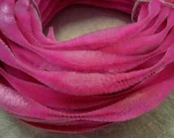 Vintage Dark Pink Velvet Bump Chenille NOS 1 yard