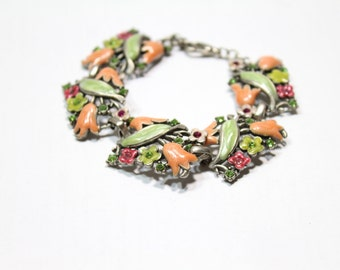 "Vintage Enamel Floral Bracelet in Pink Green and Fuchsia Swarovski Crystals 7.5"" Long"