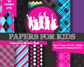 Digital Papers, Girls, Background, Birthday, Clip art