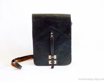 Vintage Black Leather Messenger Bag / Messenger Black Satchel / Military Bag 60s 70s