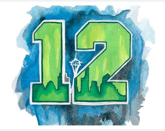 Seahawks 12th Man Watercolor Painting Print