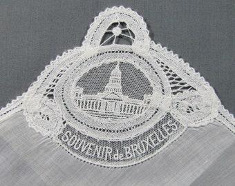 Brussels Lace Souvenir of Bruxelles BELGIUM White Hankie Handkerchief
