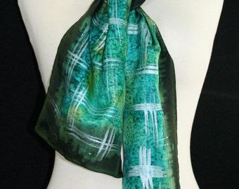 Green Silk Scarf. Dark Pine Hand Painted Silk Shawl. Teal Handmade Silk Scarf GREEN FIELD.  Size 8x54. Birthday, Mother Gift. Gift-Wrapped.