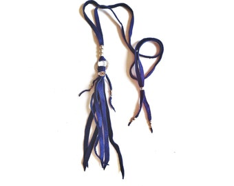 Jane necklace (ROYAL BLUE) - adjustable leather tassel for a simple but effective bohemian western look
