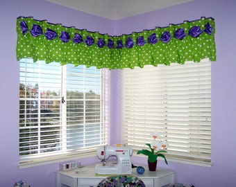 "Pleated DANIELLE  Hidden Rod Pocket® Valance fits 63""- 80"" window, Made To Order using your fabrics, my LABOR and lining"