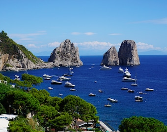 "Faraglione photo print,Capri photo, brilliant blue sea, Capri coastal photography,Large wall print, home decor, ""Captivating Capri"""