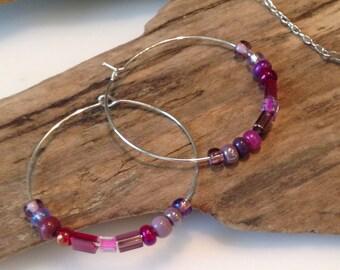 Beaded Hoop earrings, Silver hoop earrings, pink, plum, burgundy earrings, Seed bead hoop earrings, 1 1/2 inch Hoop Earrings