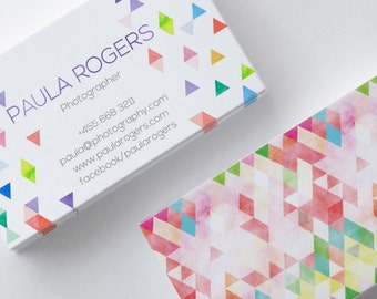Business Card Design, Colorful Business Card, Geometry Business Card, Watercolor Business Card, Premade Business Card, Pattern Business Card