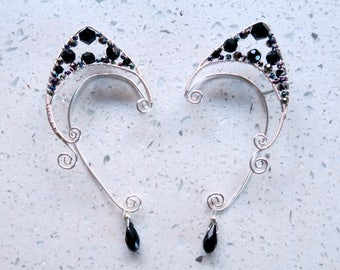 Black Rainbow Wire Wrapped Elf Ear Cuffs (Pair)