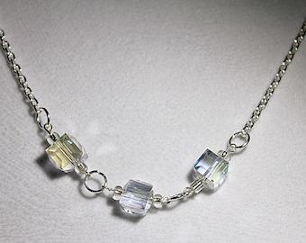 White Cube Swarovski Crystal & Silver Necklace~~~~~Item ID: M000166