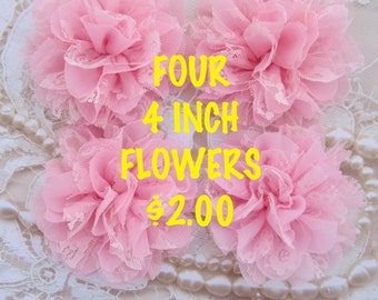 HUGE SALE  - FOUR 4 inch Shabby edge petals and lace flowers - perfect for clips or headbands, pretty baby pink flowers - Hair Craft Supply