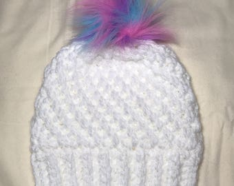 Fur pompom winter hat, pompom beanie, made to order, woman's crochet hat