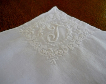 Vintage Hand Embroidered Bridal Hankerchief Bride Hankie White Embroidered Floral Design with Monogram Letter T