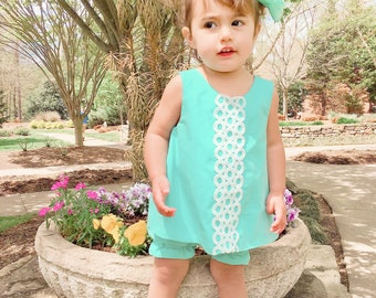 Mint Shif Dress,White Ties for Open Back, White Lace Trim, Baby and Toddlers Pinafore, Bloomers Set