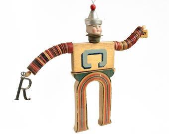 Mr. Letterman, Block letter C U, typography ornament, handmade ornament, mixed media assemblage, altered art doll, by Elizabeth Rosen