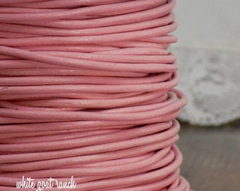 2 yards Pink  2mm Leather Cord Jewelry Supply dyed leather