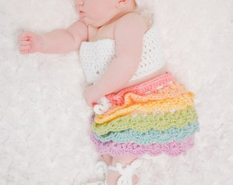 Instant Download - CROCHET PATTERN PDF - Newborn Ruffle Skirt Outfit Crochet Pattern - Permission To Sell Finished Items