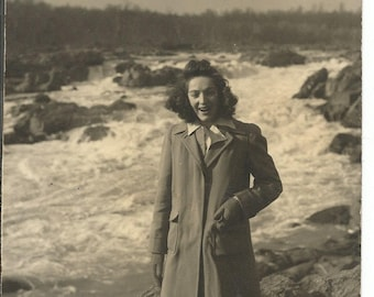 Vintage 1940's Photograph of a Woman by Water Falls