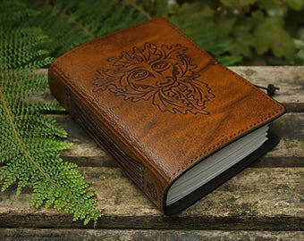 A6, Standard, Leather Bound Journal, Green Man Journal, Wiccan Notebook, Brown Leather, Book of Shadows, Pagan Notebook, Personalized.