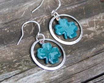 Green Clover  and Silver Torch Fired Enamel Earrings