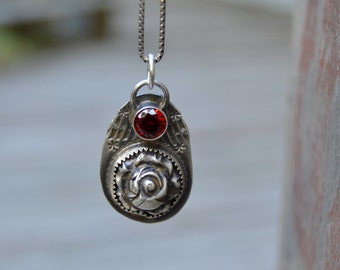 Rose Sterling Necklace. Fine Silver . Red Crystal Glass. Handmade . Fine Silver . Rustic . Earthy . Boho .
