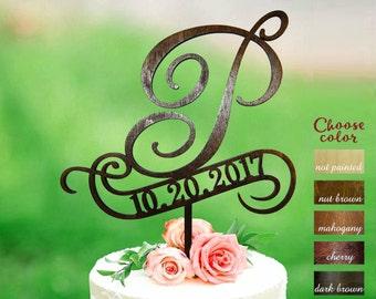Letter p cake topper, wedding cake topper, cake toppers for wedding, rustic cake topper, cake topper letter p, cake topper wood date, CT#232
