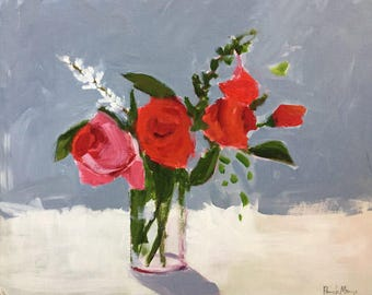 flower painting red roses red and grey original painting pamela munger