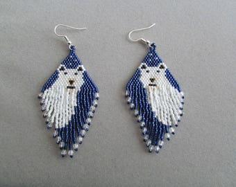 Beaded Polar Bear Earrings