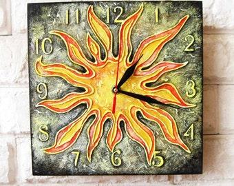 Sun Wall Clock, Home Decor for Children Baby Kid Boy Girl Nursery Playroom, wall clocks handmade