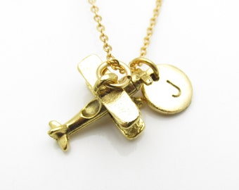 Propeller Plane Necklace, Vintage Airplane Charm Necklace with Initial Letter, Antique Gold Propeller Airplane Monogram Necklace, Z122