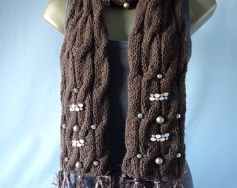Embellished Cable Scarf E078