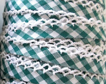 Crochet Bias Tape Green Gingham Bias Tape White Crochet Edge *Double Fold Bias *Quilt Binding *Sewing *Christmas Green