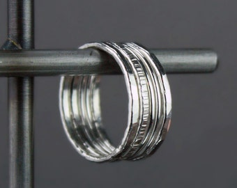 Hammered Silver Stacking Rings, Mixed Textures and Widths, Set of Five Stackable Rings