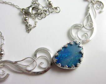 Magic Dust Necklace - Opal in Sterling SIlver Filigree