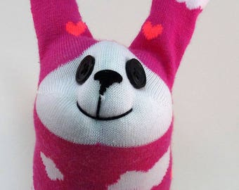 Cupid Bunny, Handmade Sock Bunny, Easter Bunny, Soft Toy, Plush, Toy for Kids, Pink Bunny, Love Bunny, Sock Rabbit, Rabbit Stuffed Animal