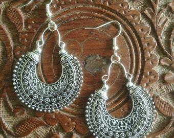 Boho earrings, Bohemian earrings, Tribal earrings, Gypsy earrings, Ethnic earrings, Silver dangle earrings, Hypoallergenic