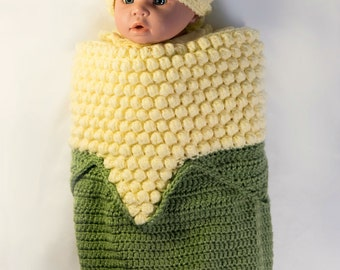 Newborn Corn on the Cob Cocoon, Baby Cocoon, Crochet Cocoon, Corn Baby, Thanksgiving Baby, Photo Shoot, Baby Shower Gift, The Dainty Hook