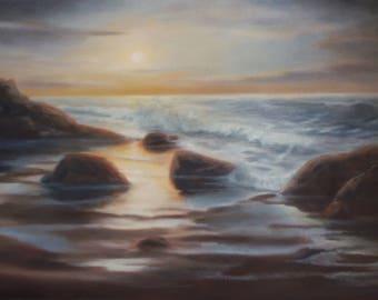 Sunset painting, Relaxing art, Romantic Wall art, Seascape painting, Original painting, Oil painting, Housewarming gift, Bedroom Wall Decor