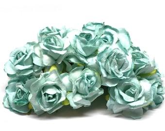 Pale Aqua Classic Mulberry Paper Roses Cr006