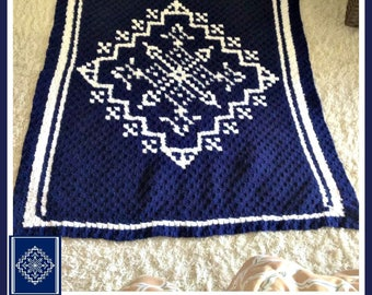 Snowflake Afghan C2C Graph with Written Word Chart