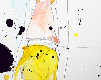 """Fashion Illustration Art Print, Woman, Mix Media Painting by Leigh Viner - """"Figure"""""""