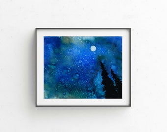 """Giclee PRINT of """"To the Heavens"""" wall art painting night sky trees moon"""
